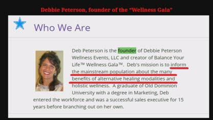 Debbie Peterson Promotes Mas Sajady - who has Ties to Pedophilia - at Wellness Gala, Art Serv