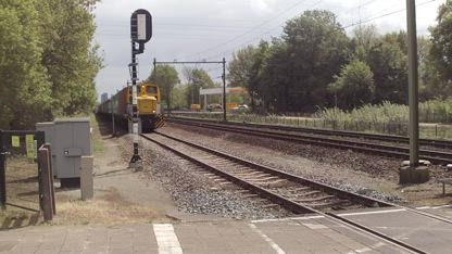 Little Orenstein & Koppel Diesel Locomotive with Container Train at Blerick,the Netherlands