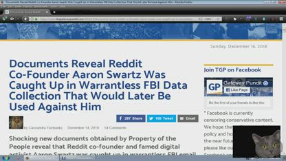 Reddit Co Founder Aaron Swartz Caught in Warrantless FBI Data Collection
