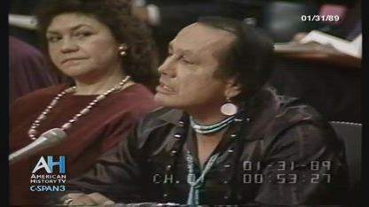 1989-Russell Means testifies at a US Senate Hearing on Indian Affairs